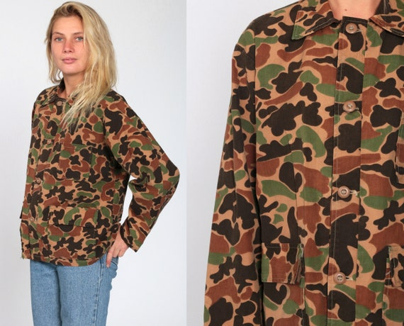 Camouflage Jacket Brown Green CAMO Distressed Military Jacket Army Olive 80s Commando Cargo 1980s Vintage Medium