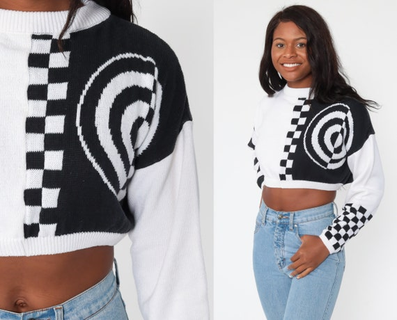 Cropped Checkered Sweater 80s Sweater Knit Black White Striped Sweater Crop Pullover Knit Slouch 90s Jumper Vintage Retro Cotton Medium