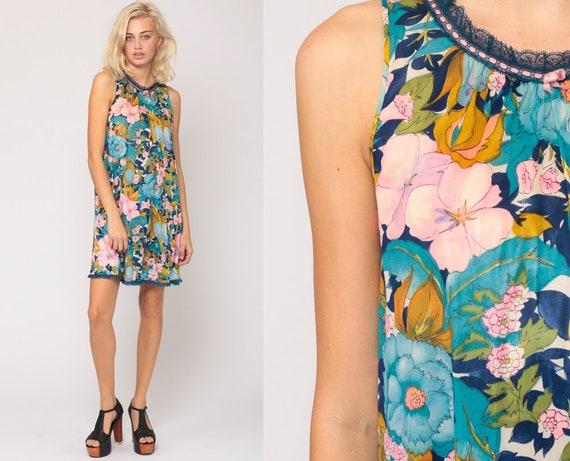 Floral Nightgown Lingerie 70s Slip Dress Mini Short Nightie Hippie Boho Mod Flower Power Vintage 1970s Tent Pink Blue Small Medium