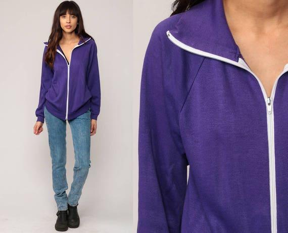 Track Jacket Zip Up Sweatshirt 80s Purple Jacket RAGLAN Sleeve 1980s Warm Up Sports Vintage Warmup Old School small