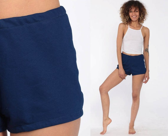 Dark Blue Shorts 70s Shorts -- High Waist Shorts Gym Freaks and Geeks 80s High Rise Hotpants Bohemian Vintage Retro 1970s Extra Small xs