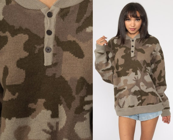 Wool Camo Sweater Army Sweater Military Camp Sweater 80s Camouflage Brown Commando Pullover Jumper Knit Sweater 1980s Vintage Extra Large xl