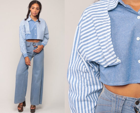 801e60b65fe534 Crop Top Striped Shirt Chambray Shirt Button Up Blouse Long | Etsy