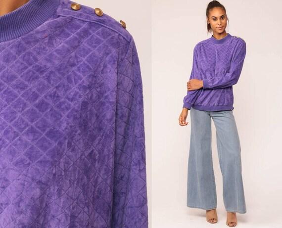 Velour Sweatshirt 80s Shirt Purple Sweater BUTTON SHOULDER Slouchy Long Sleeve 1980s Retro Boho Pullover Jumper Medium