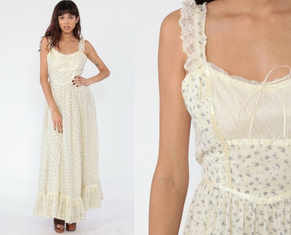 Gunne Sax Dress Medium Vintage 70s Maxi Prairie Floral Print Bohemian Dress Sundress 1970s Boho Hippie Sun Tiered Summer Empire Waist Medium