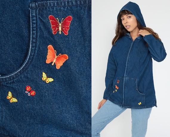Hooded Denim Jacket -- Butterfly Jacket 90s Jean Jacket Hoodie Blue Cargo Pocket Coat Hooded 1990s Vintage Hoodie Medium Large