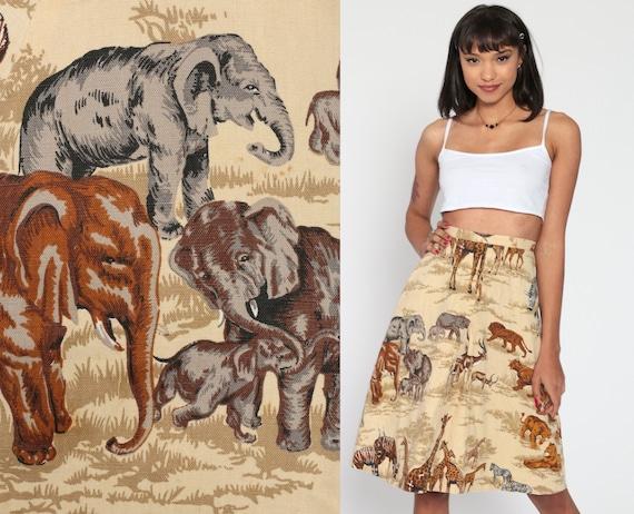 Safari Animal Skirt 70s Midi LION ELEPHANT African Print ZEBRA High Waisted 1970s Bohemian Vintage Boho Hippie Giraffe Tan Festival 2xs xxs