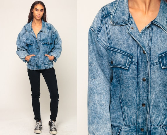 80s Denim Jacket SERGIO VALENTE Jean Jacket Vintage Acid Wash Grunge Jacket Trucker Button Up Blue 90s Hipster Oversize Large