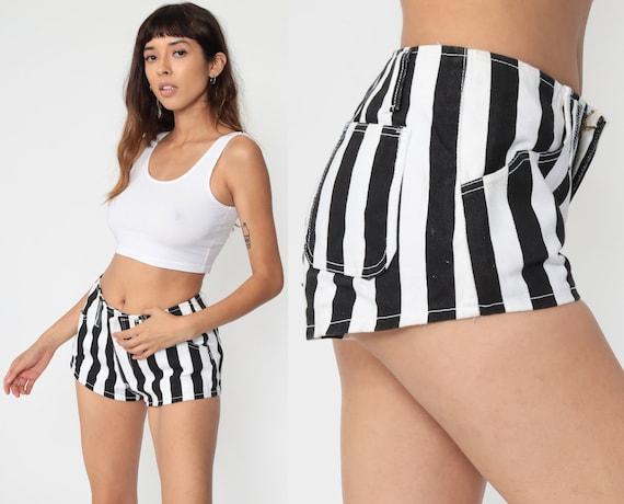 Striped Jean Shorts 80s Black White Denim Shorts Hotpants Mid Rise Waist Vintage Summer Shorts Hot Pants 1980s Streetwear