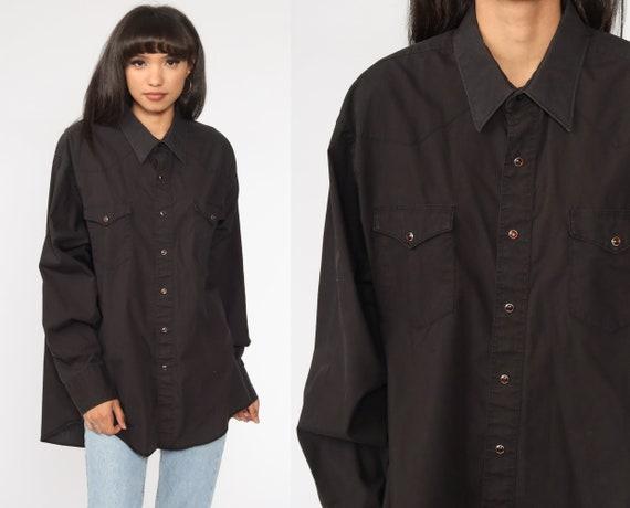 Wrangler Western Shirt 80s Black PEARL SNAP Shirt Western Shirt 1980s Vintage Button Up Long Sleeve Rockabilly Plain Extra Large xl Tall