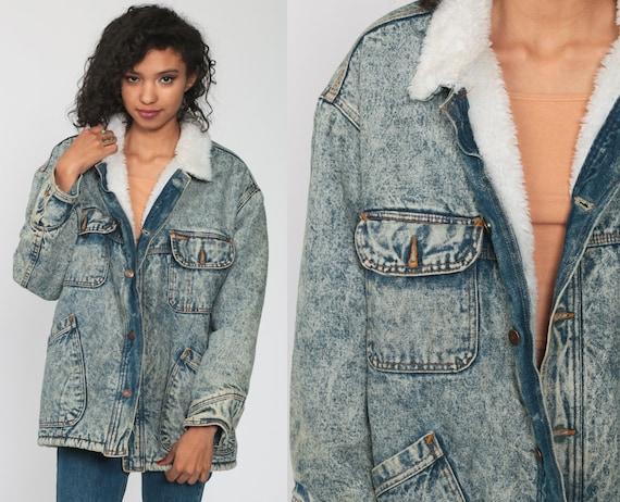 Levis Denim Jacket ACID WASH Denim Shearling Coat 80s Jean Jacket Levi Sherpa Fleece Faded Blue 1980s Vintage Hipster vegan Medium Large
