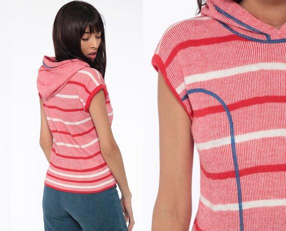 Striped Hooded Top 70s Shirt Red Hoodie Tshirt Striped Shirt Cap Sleeve Shirt Hippie Retro T Shirt Vintage White Blue Extra Small xs s