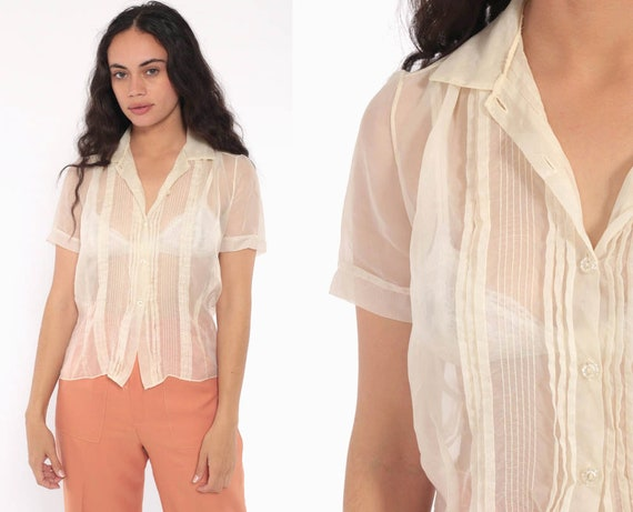 b2640291914ed4 Sheer Cream Top 70s Party Blouse Bohemian Cocktail Shirt 60s | Etsy