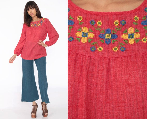 Embroidered Tunic Blouse Red Floral Ethnic 70s Hippie Shirt Tunic Top Boho Mexican 1970s Bohemian Festival Cotton Long Puff Sleeve Small