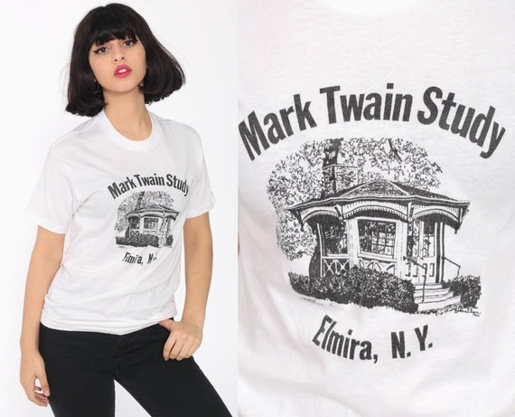Vintage Mark Twain Shirt 80s Author Literary Shirt Retro TShirt Elmira NY New York Graphic Vintage T Shirt 80s Tee Tshirt Small xs
