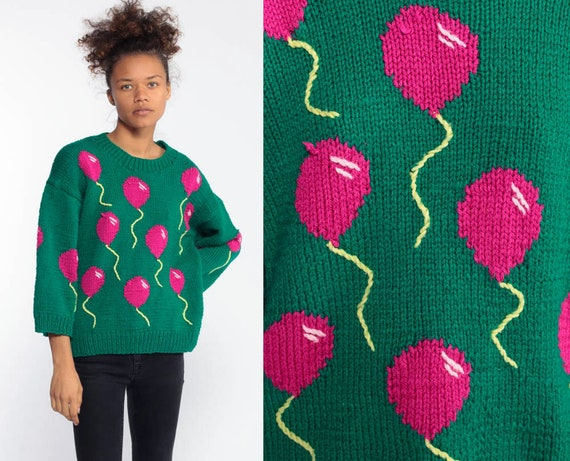 80s Balloon Sweater Kawaii Balloon Print Green Sweater Pink Knit Boho Pullover Japan 1980s Pink Novelty Cute Japanese Medium