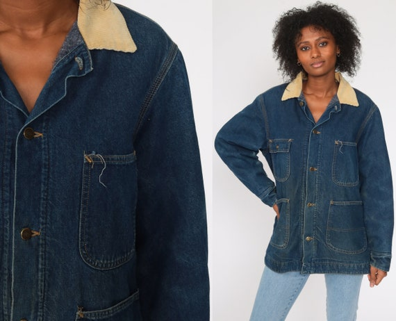 80s Denim Jacket Workwear Jean Jacket Blue Cargo Jacket Pocket Corduroy Collar Vintage Chore Coat Button Up Work Barn Coat Extra Large xl l