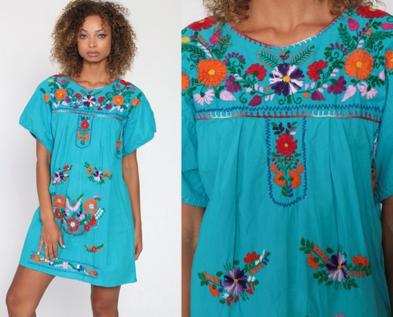 Mexican Embroidered Dress Blue Mini Boho Cotton Tunic Hippie Floral Ethnic Bohemian Vintage Embroidery Traditional Summer Medium