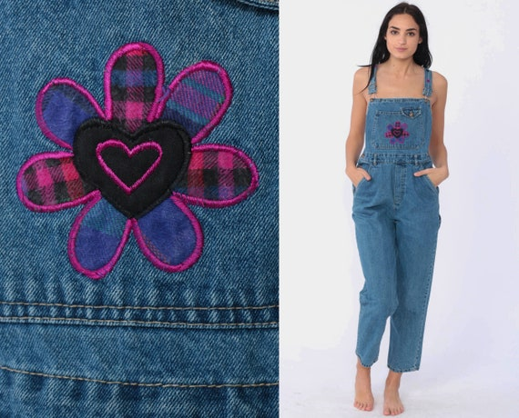 90s Denim Overalls FLOWER POWER PATCH Bib Overalls Dungarees Jeans Long Pants Tapered Overalls Slim 1990s Vintage Carpenter Extra Small xs