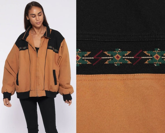 Brown Bomber Jacket xxl -- 90s TRIBAL Print Boho 80s Baseball Coat Southwestern 80s Jacket Aztec Vintage Retro Extra Large xl 2xl