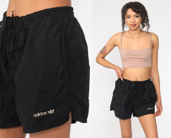 Vintage ADIDAS Shorts 80s Black Swim Shorts High W