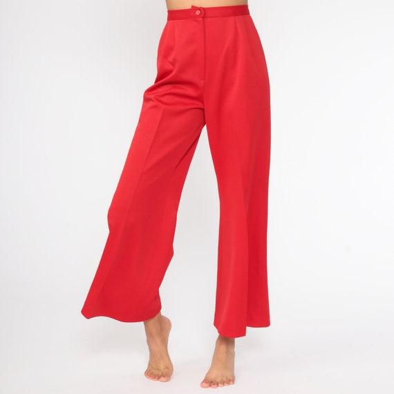 High Waisted Slim Pleated Style Pants By Sears Vintage Burgundy High Waisted Boho Pants