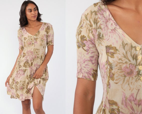 Tan Floral Dress 90s Grunge Mini Indian Flared Polyester Crepe Dress Short Sleeve Button Up Skater 1990s Vintage Minidress Retro Small
