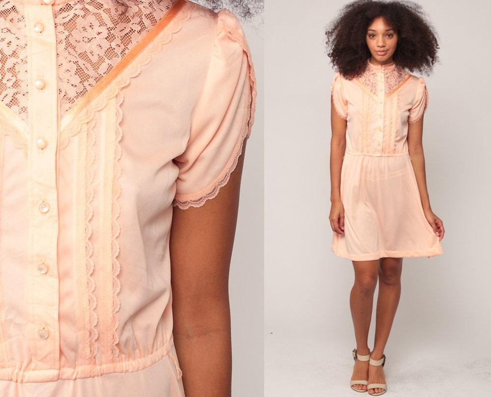 b4c5af7ae5d Peach Dress Prairie Victorian Dress 70s Sheer LACE Bib High