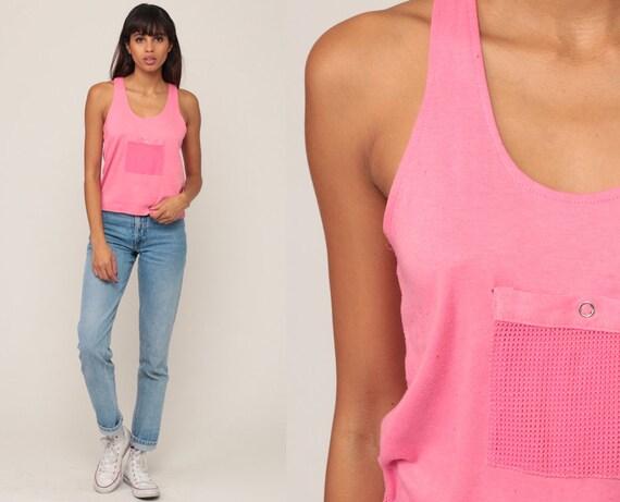Pink Tank Top Mesh Shirt 80s Sheer Top RACERBACK Shirt Retro Sports Shirt 1980s Sleeveless Racer Back Vintage Shirt Medium