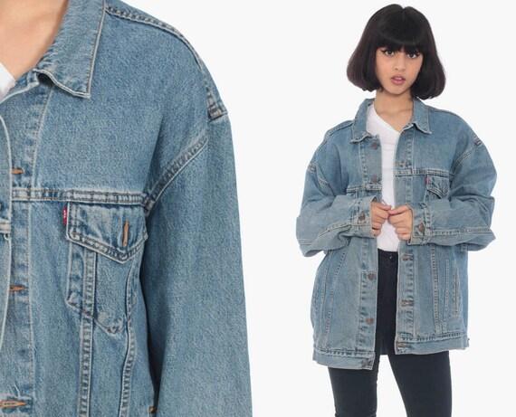 Levi Jean Jacket 80s Denim Jacket Faded Levis Jacket 90s Blue Vintage Oversized Biker Grunge Hipster Extra Large 2XL xxl xl