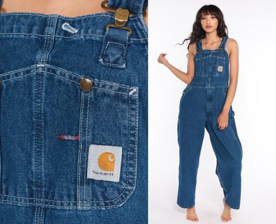 Carhartt Overalls 90s Bib Jean Overalls Denim Pants Dungarees Workwear Utilitarian Blue Pants Baggy Long Vintage Coveralls Small Medium 36