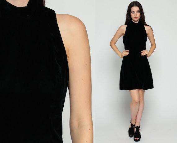 Velvet Mini Dress 90s Black Party Grunge OPEN BACK Gothic Skater High Neck Goth Keyhole Cut Out Vintage 80s Minidress Sleeveless Medium