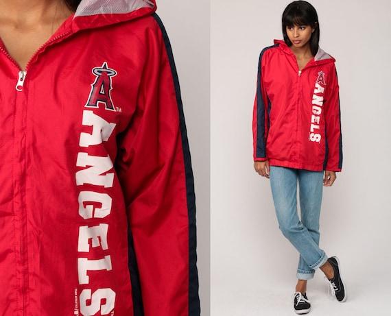Windbreaker Jacket Los Angeles ANGELS Baseball 90s Hooded MLB Jacket HOODIE Jacket Red Athletic Warmup Sports Hood Vintage Small