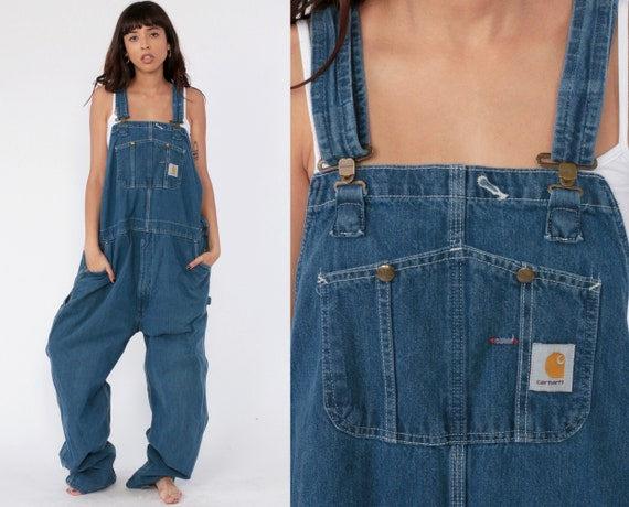 Carhartt Overalls 46 x 34 90s Bib Jean Overalls Denim Pants Dungarees Blue Pants Baggy Long Vintage Coveralls Workwear Extra Large xl