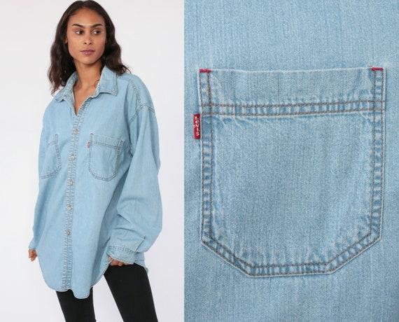 Levis Denim Shirt Medium Button Up Shirt LEVI STRAUSS Jean Shirt 90s Blue Grunge Long Sleeve Cotton Oversized Button Down Extra Large xl xxl