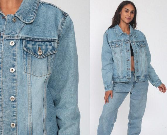 90s Denim Jacket Reflect Jeans Blue Jean Jacket Trucker Stone Wash 1990s Vintage Biker Oversized Grunge Faded Coat Medium Large