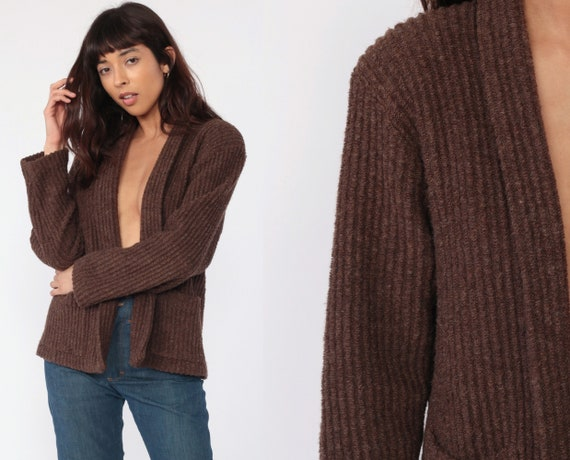 Bohemian Cardigan Brown Wrap Sweater 70s Wool Blend Boho Sweater 80s Vintage Hippie Textured Knit Open Front 1970s Medium