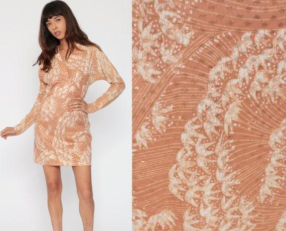 70s Party Dress Metallic Leaf Print Dress Mini DOLMAN Sleeve Tan Disco Cocktail Hippie Long Sleeve 1970s Boho Vintage Empire Waist Small