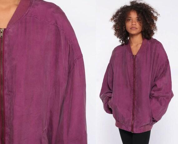 90s Silk Windbreaker Jacket -- Purple Bomber Jacket Sportswear Warm Up NYLON Jacket Zip Up Jacket 1990s Oversized Extra Large xl