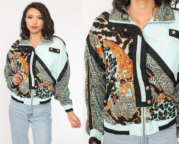 Leopard Print Jacket 90s Baby Blue Windbreaker Animal Print Bomber Jacket 1990s Jungle Vintage Women Novelty Small S