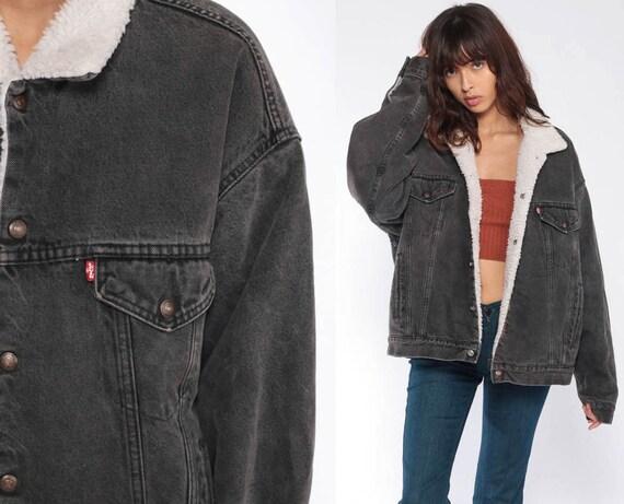 Levis SHERPA Jacket Black Levi Jacket USA Denim Jacket Grey Jean Shearling Jacket 80s Jean Fleece Coat Snap Up 1980s Vintage Extra Large xl