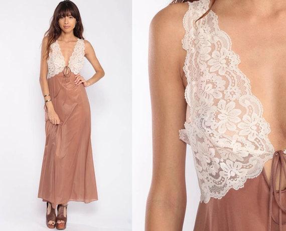 Lingerie Nightgown Slip Dress 70s Brown Maxi SHEER Nylon Nightgown Lace Grecian Vintage Boho Empire Waist V Neck Bohemian Medium