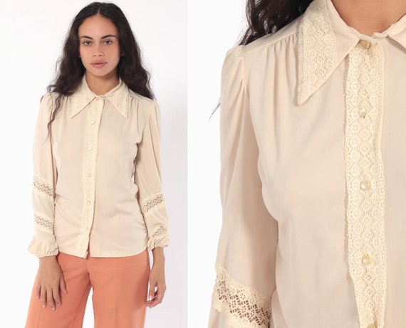 Cream Lace Blouse 70s Boho Top PUFF SLEEVE Shirt 1970s Button Up Vintage Romantic Bohemian Long Sleeve Small