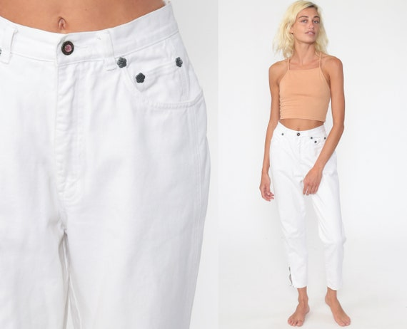 90s LA Gear Jeans 26 -- White Skinny Mom Jeans High Waist ANKLE ZIP Jeans Denim Pants 90s Slim Jeans Vintage Small 4