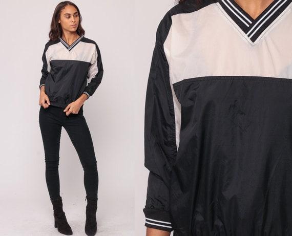 Pullover Jacket 80s Windbreaker Jacket Black White Jacket Color Block 90s Nylon Jacket V Neck Athletic Sports Hipster Vintage Extra Small xs