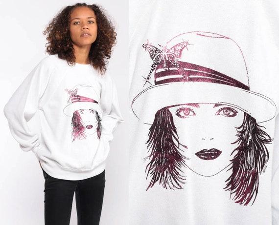 Graphic Sweatshirt Metallic Hat Lady Shirt 80s Sweatshirt Novelty Print Shirt 90s Shirt Vintage Retro Pink Purple 1980s small