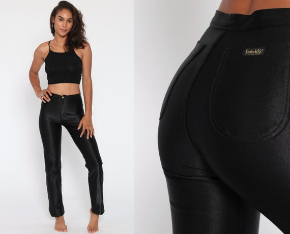 Shiny Disco Pants FREDERICK'S of HOLLYWOOD 80s Trousers Black Pants 70s High Waisted Vintage Rock Glam 1980s Extra Small XS