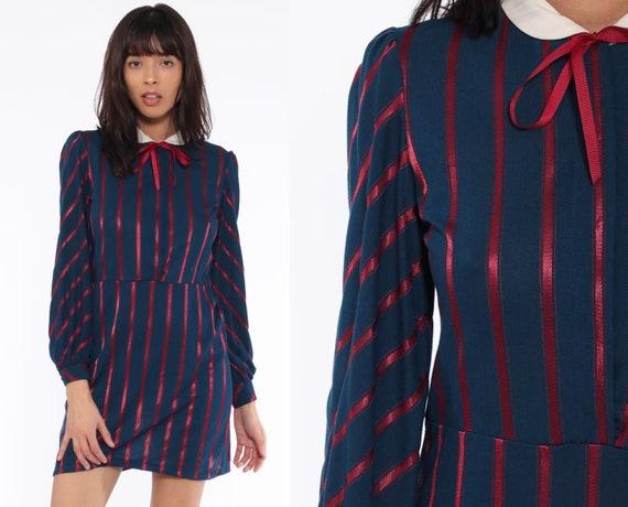 Puff Sleeve Striped Dress 80s Secretary Blue Peter Pan Mini Collar High Waist Dolly 1980s Vintage Long Sleeve Work Career Small