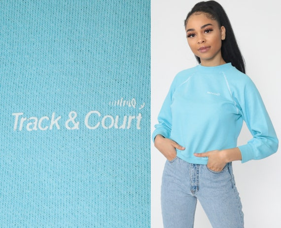 Baby Blue Sweatshirt 80s Tennis Crewneck Track and Court Raglan Sleeve Long Sleeve Shirt Slouchy 1980s Vintage Normcore Extra Small xs s