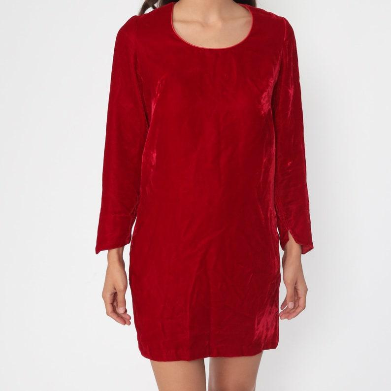 Velvet Mini Dress 60s Mod Party Red Vintage Cocktail Shift Long Sleeve 70s Gogo Formal Lolita Holiday MiniDress Small